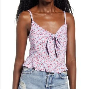 NWT BP. Tie Front Smocked Back Cami